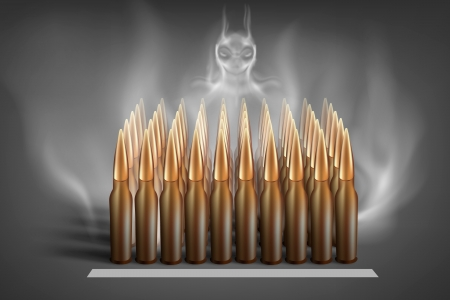 Army ammunition with smoke of Satan Vector