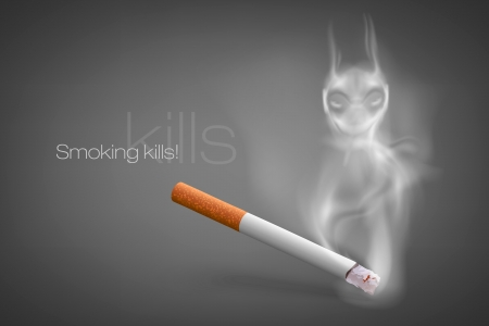 smoldering cigarette with a smoke of Satan