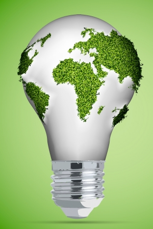 The concept of clean energy   energy saving bulb Stock Vector - 16700174
