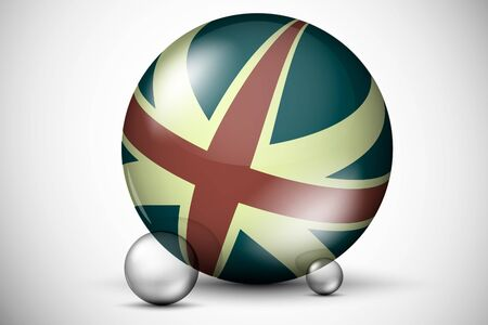 3D British flag on the ball field Stock Vector - 16900398
