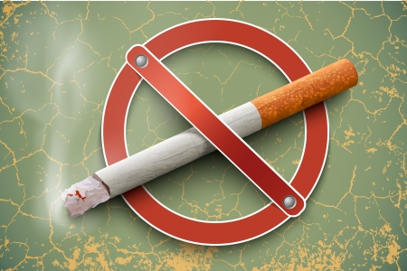 no label: 3D no smoking sign with a realistic cigarette on a vintage background