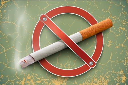 prohibido fumar: 3D prohibido fumar signo con un cigarrillo real en un fondo de la vendimia