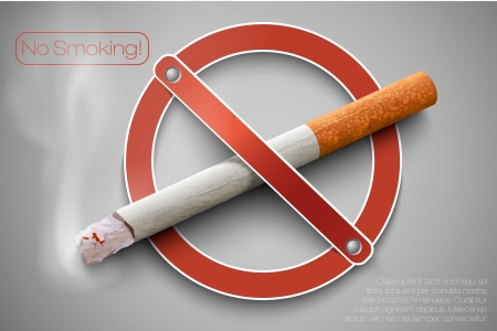 no smoking: 3D no smoking sign with a realistic cigarette
