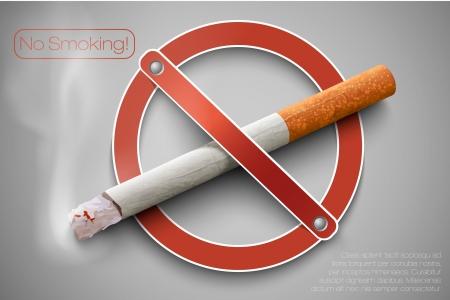 prohibido fumar: 3D prohibido fumar signo con un cigarrillo real Vectores