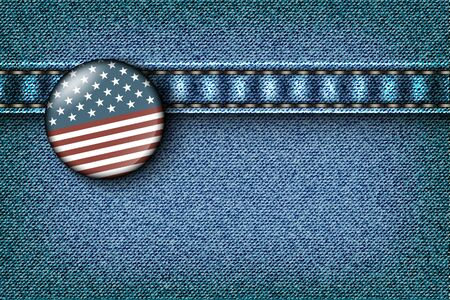 Badge with the American flag on the jeans texture Stock Vector - 16900406