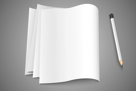 blank sheets of paper documents to text with pencil Vector