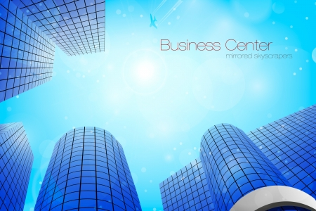 business center  mirrored skyscrapers Stock Vector - 16900401