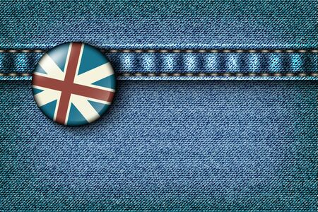 Badge with the UK flag on the jeans texture Stock Vector - 16900399