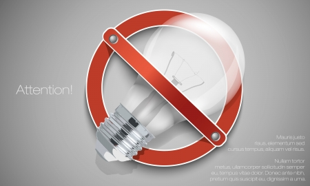 Light bulb in the prohibitory signs Vector