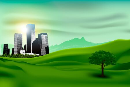 Natural landscape of the city and the green grass  concept of ecology Stock Vector - 16900416