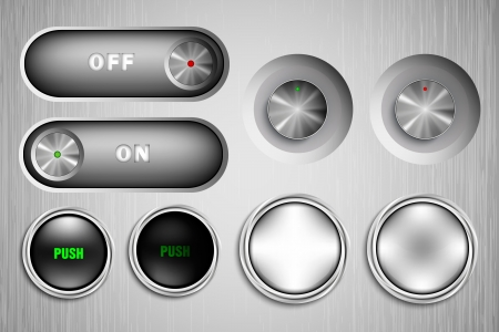 3D metal buttons, on and off Stock Vector - 17535577
