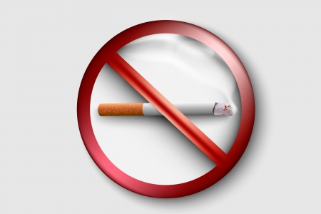 3D no smoking sign with a realistic cigarette Stock Vector - 17535595