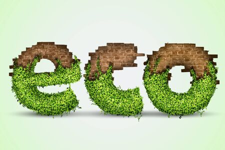 concept of ecology  eco grass and brick Stock Vector - 17535709
