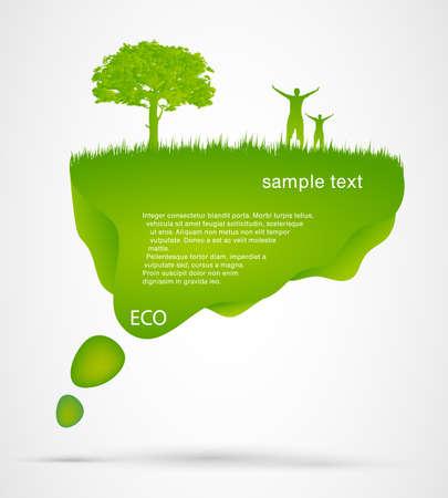 Green Speech Bubble with man Stock Vector - 17535604