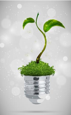 save planet: green sprout in the bulb  the concept of clean energy Illustration