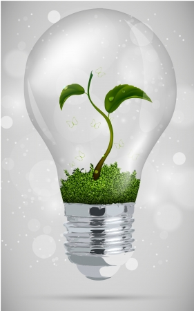 green sprout in the bulb  the concept of clean energy Stock Vector - 17535752