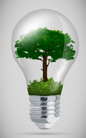 green tree in light bulb  the concept of clean energy Vector