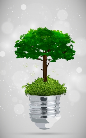green tree in light bulb  the concept of clean energy Stock Vector - 17535710