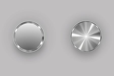 chrome button: metal buttons gray Illustration