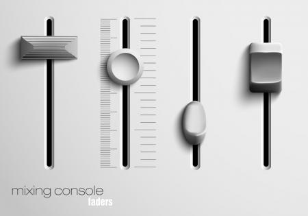 panel control: faders de la consola mezcladora