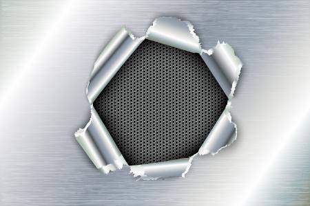 metalico: arrancó un orificio de metal Vectores