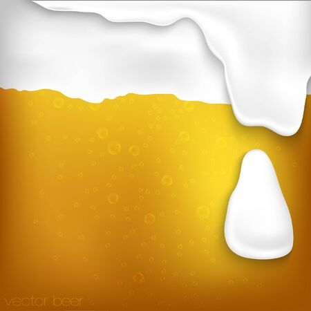 texture of beer with foam and bubbles Vector