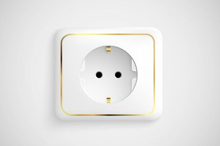 white socket with ground Stock Vector - 17535576