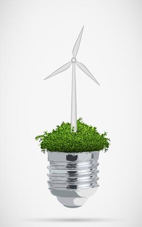 発電機: クリーン エネルギーの概念の電球の風車