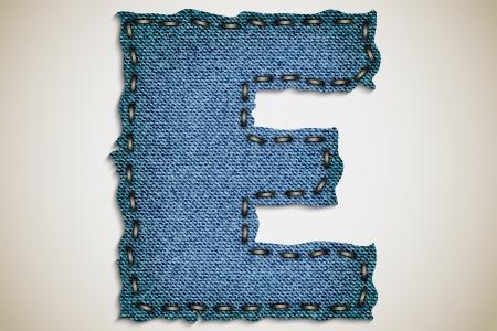 Denim letter E alphabet texture jeans  vector Stock Vector - 17852454