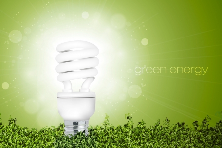 Energy saving light bulb with a bright light in the grass  concept of ecology Illustration