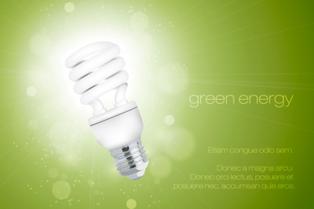 Energy saving light bulb with a bright light Vector