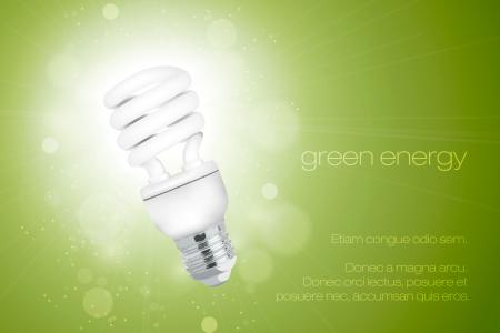 risparmio energetico: Risparmio energetico lampadina con una luce brillante Vettoriali