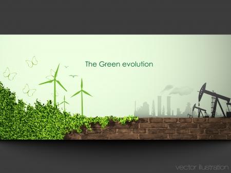 世界の旗の緑化の概念の進化  イラスト・ベクター素材