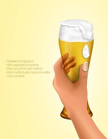 man drinking water: hand holding a glass of light beer Illustration