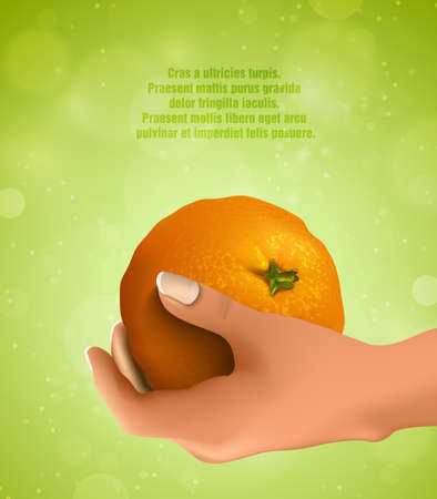 vesicles: hand holding an orange Illustration
