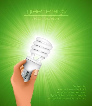 hand holding energy saving light bulb with rays Vector