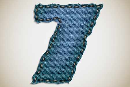 jeans figure 7, figure and letter from jeans texture Vector