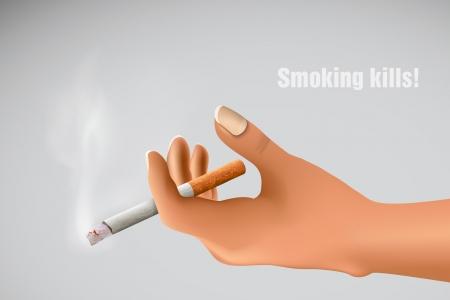 pernicious: Smoking kills  hand holding a smoking cigarette Illustration