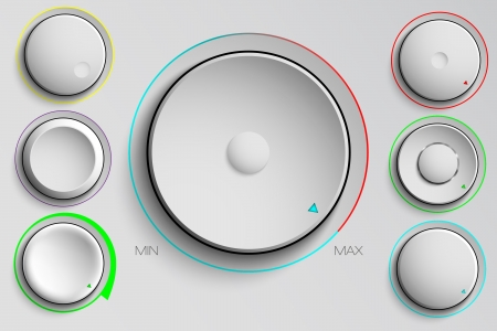 user interface: vector set of buttons, volume control
