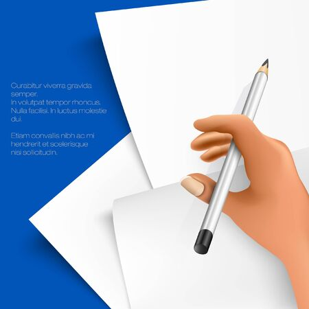 stack of papers with writing hand Stock Vector - 18419806