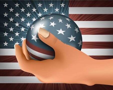 American flag with the ball in his hand Stock Vector - 18419678