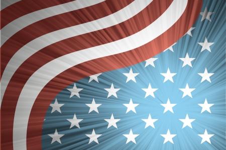 Drapeau américain avec les rayons Banque d'images - 18405181