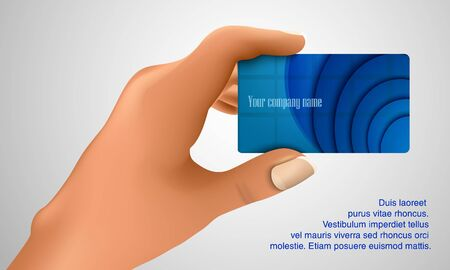 Business card in hand  Business concept Stock Vector - 18419670