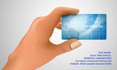 nameless: Business card in hand  Business concept Illustration
