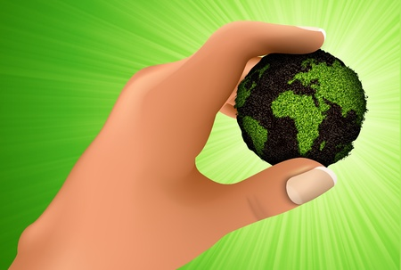 Earth in hand  concept of ecology Vector