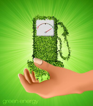 out of gas: gas station out of the grass in your hand  the concept of clean energy