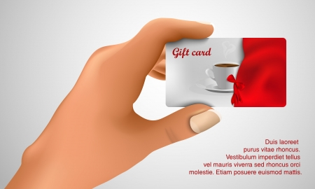 hand holding card: gift card in de hand