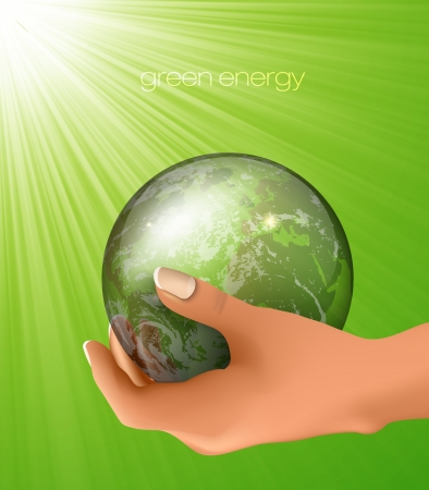 glass globe in hand  concept of ecology Vector