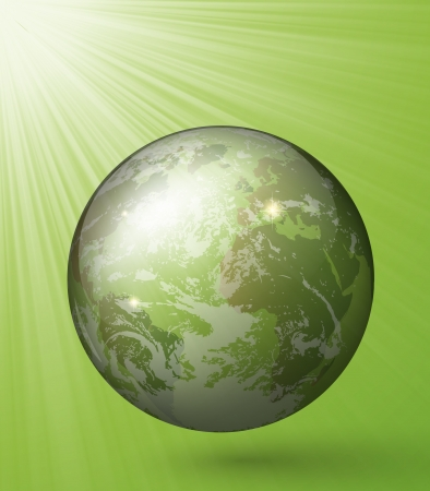 glass globe with rays on a green background Vector