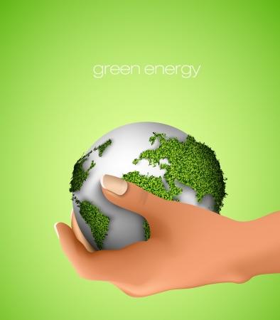 mani terra: Globo in mano concetto di ecologia Vettoriali